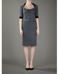 Dior   Gray Belted Dress   Lyst