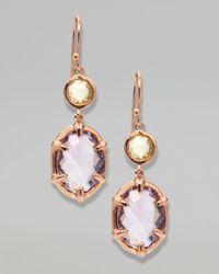 Ippolita - Metallic Twostone Drop Earrings Rose Gold - Lyst