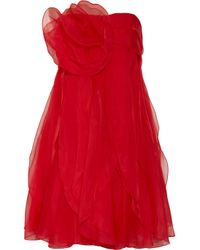 Notte by Marchesa | Red Rosette-embellished Organza Dress | Lyst