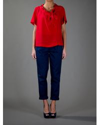 Sonia by Sonia Rykiel | Red Neck Tie Blouse | Lyst
