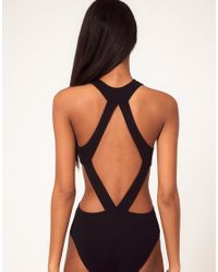 ASOS Collection - Black Body With Strappy Cut Away - Lyst
