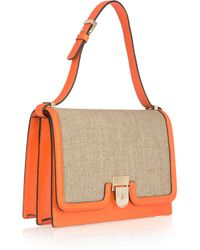 Victoria Beckham - Natural Leather and Canvas Shoulder Bag - Lyst