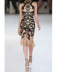 Alexander McQueen | Black Lasercut Patentleather and Lace Dress | Lyst