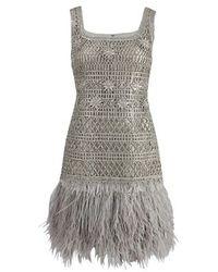 Oscar de la Renta | Silver Sleeveless Lame Dress with Feather Hem | Lyst