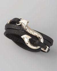 John Hardy - Black Dayak Wrap Bracelet for Men - Lyst