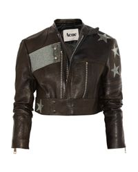 Acne Studios | Black Stars Appliquéd Cropped Leather Biker Jacket | Lyst