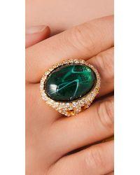 Kenneth Jay Lane - Green Emerald Rhinestone Cocktail Ring - Lyst
