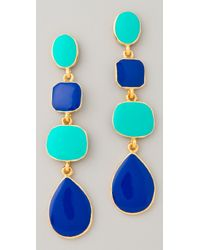 Kenneth Jay Lane - Blue Polished Gold Enamel Earrings - Lyst