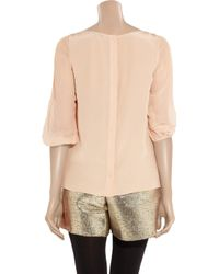 Tibi - Natural Lace-front Silk-chiffon Blouse - Lyst