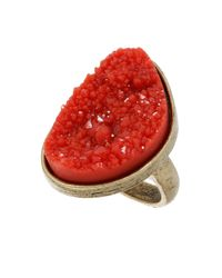 TOPSHOP - Metallic Coral Sparkle Rock Ring - Lyst