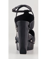 CoSTUME NATIONAL - Black T Strap Platform Clog Sandals - Lyst