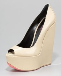 Ruthie Davis | Natural Patent Leather Platform Wedge | Lyst