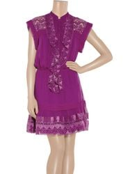 Alice By Temperley - Purple Mini Giselle Embroidered Silk-crepe Dress - Lyst