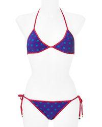 Marc By Marc Jacobs   Blue Cleo Print Mix Reversible Triangle Bikini   Lyst
