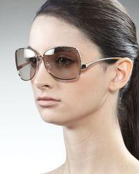 Roberto Cavalli | Metallic Square Metal Sunglasses Rose Golden | Lyst