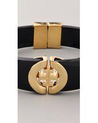 Tory Burch - Black Logo Hinge Bracelet - Lyst