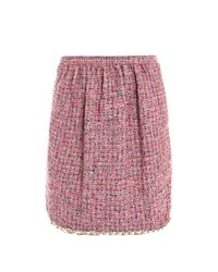 Dolce & Gabbana | Purple Tweed Pleatfront Skirt | Lyst