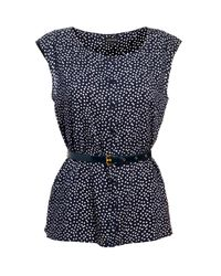 Jaeger | Blue Polka Dot Blouse with Belt | Lyst