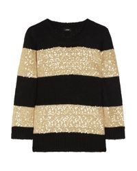 J.Crew | Black Sequinstriped Fineknit Sweater | Lyst