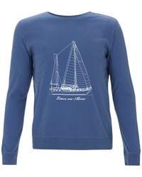 A.P.C. - Blue Boat Print Jumper for Men - Lyst