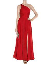Halston Heritage | Red One-shoulder Silk-chiffon Gown | Lyst