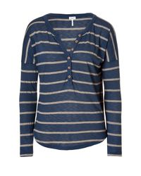 Splendid | Blue Nutmeg Stripe Henley in Denim | Lyst