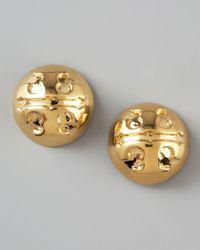 Tory Burch - Metallic Golden Logo Stud Earrings - Lyst