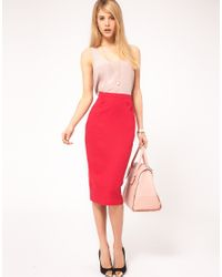 ASOS Collection | Red Linen Pencil Skirt With Button Detail | Lyst