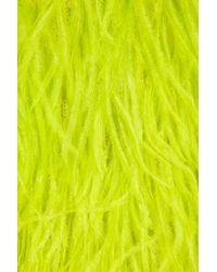 Oscar de la Renta | Yellow Feathered Silk Top | Lyst