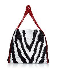 Roberto Cavalli | Blackwhite Zebra Print Woven Straw Bag | Lyst