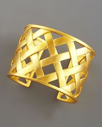 Kenneth Jay Lane | Metallic Basketweave Cuff | Lyst