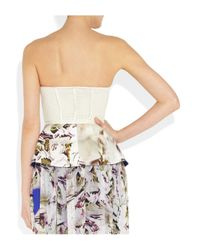 Vera Wang | White Eyelet Stretchsilk and Printed Crepe Peplum Top | Lyst