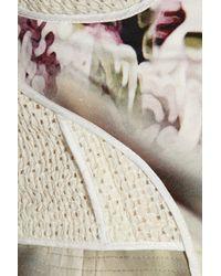 Vera Wang - White Eyelet Stretchsilk and Printed Crepe Peplum Top - Lyst