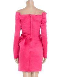 Lanvin | Pink Silk-satin Off-the-shoulder Dress | Lyst