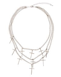 ASOS - Metallic Multi Row Cross Necklace - Lyst