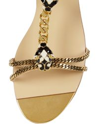 Gucci | Gold Embellished Chain and Leather Sandals | Lyst