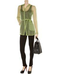 Jil Sander | Green Athene Silk Organza Shirt | Lyst