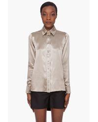 Givenchy - Natural Glossy Khaki Silk Blouse - Lyst