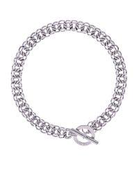 Karen Millen | Metallic Encrusted Bar Hoop Necklace | Lyst