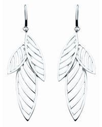 Kit Heath | Metallic Sterling Silver Applique Leaf Earrings | Lyst