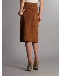 Linea Weekend - Brown Suede Midi Skirt - Lyst