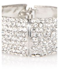 Mikey - White Wide Full Crystal Bracelet - Lyst