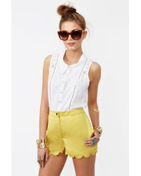 Nasty Gal - Yellow Sunny Scallop Shorts - Lyst