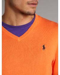 Polo Ralph Lauren | Orange Pima Cotton V-neck Sweater for Men | Lyst