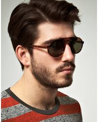 ASOS - Brown Asos Brow Bar Round Sunglasses for Men - Lyst