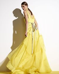 Carolina Herrera | Yellow Satin Contrastwaist Gown | Lyst