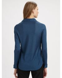 Eileen Fisher | Blue Silk Blend Button Down Shirt | Lyst