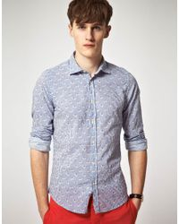 Hartford - Blue Hartford Horseman Print Shirt for Men - Lyst