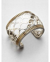 John Hardy | Metallic 18k Gold Sterling Silver Scaled Wide Cuff Bracelet | Lyst