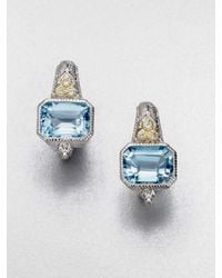 Judith Ripka | White Sapphire Accented Blue Topaz Estate Cushion Earrings | Lyst